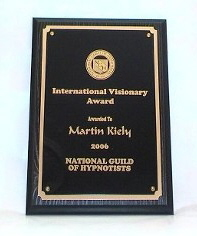 National Guild of Hypnotists International Visionary Award Martin Kiely